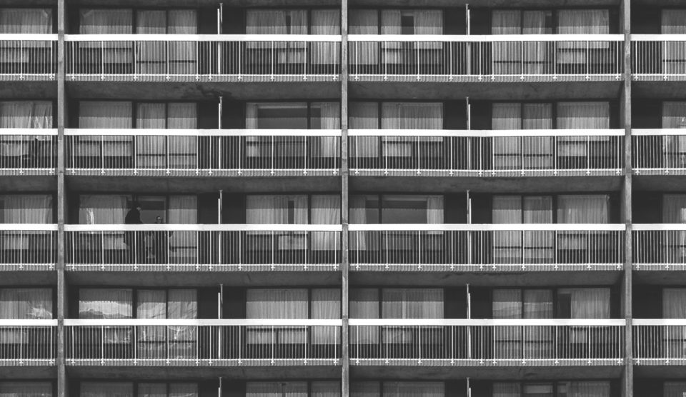 Zoomed in shot of a block of flats